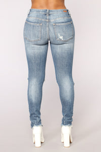 Password Protected Skinny Jeans - Medium Blue Wash