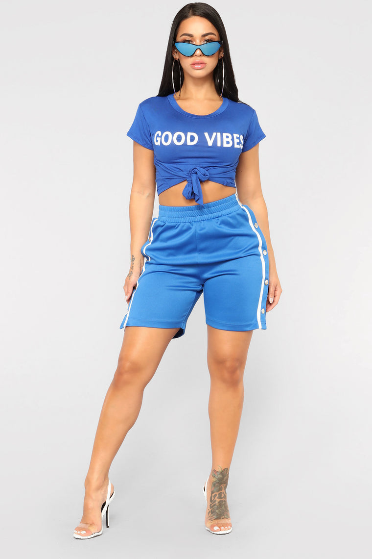 Good Vibes Short Sleeve Top - Blue