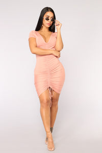Forbidden City Ruched Dress - Pink