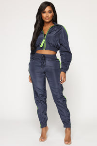 With Caution Windbreaker Jogger - Navy
