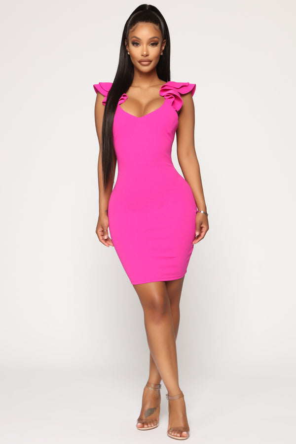 daa3b3b15432 All About Fun Tie Back Mini Dress - Fuchsia