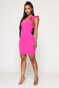 All About Fun Tie Back Mini Dress - Fuchsia Angle 3