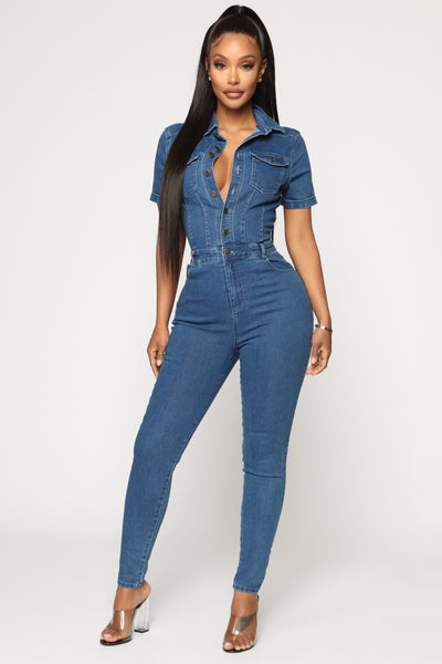 Collared Button Front Belted Short Sleeves Sleeves Denim Jumpsuit