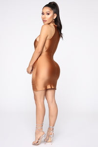 Please Cut It Out Mini Dress - Hazelnut