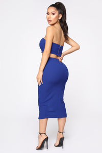Want Your Attention Tube Midi Dress - Royal