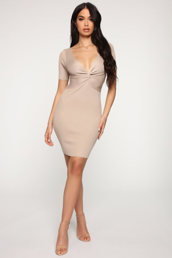 8f11598c9bf Pieces Of You Sweater Mini Dress - Nude