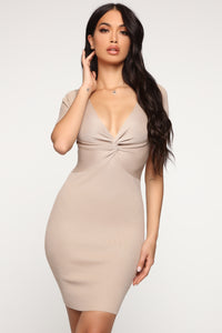 Pieces Of You Sweater Mini Dress - Nude