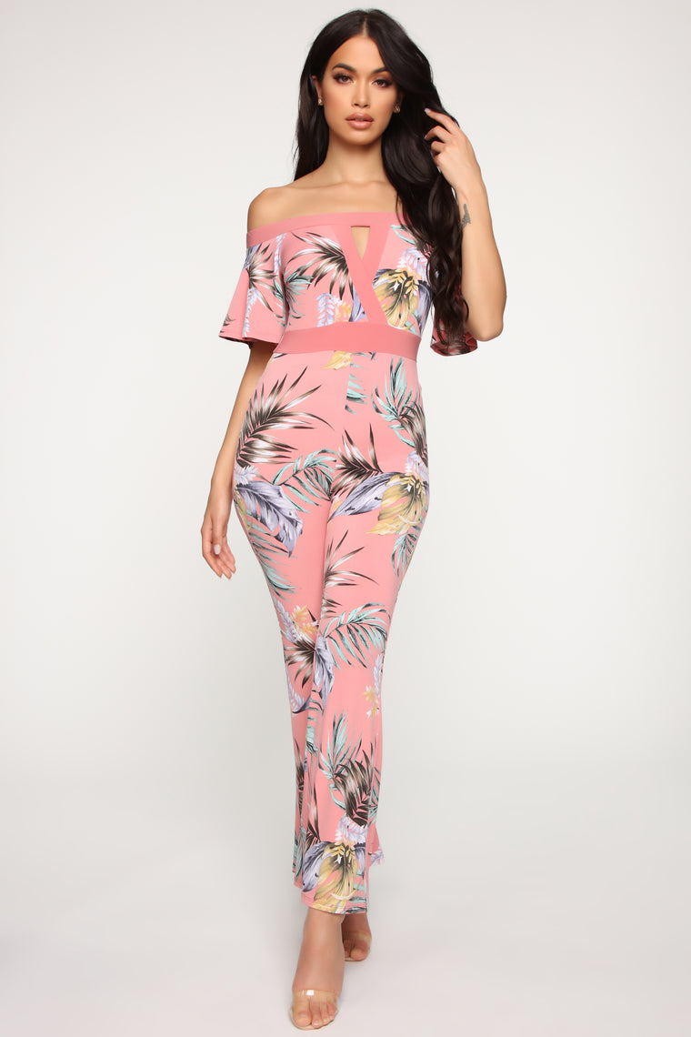 Keeping It Humid Tropical Jumpsuit - Coral/Multi