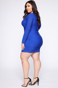 Can't Mesh Up My Day Mini Dress - Royal
