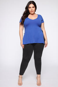 Still A World Away Side Slit Top - Royal