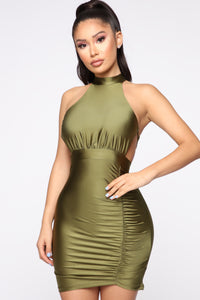 Please Cut It Out Mini Dress - Olive