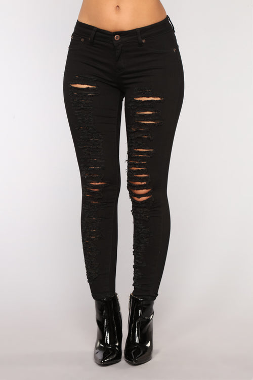 Rip Your Heart Out Distressed Jeans - Black