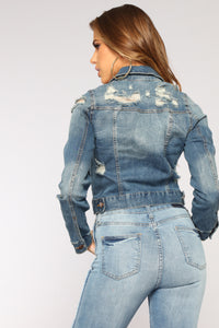 Kelly Denim Jacket - Medium Wash Angle 5