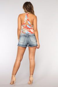 Champagne Beach Crop Top - Orange/Combo