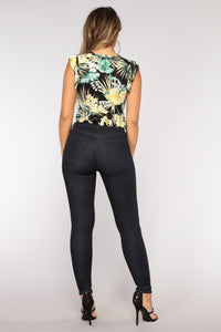 Oh So Fancy Floral Crop Top - Black/Combo
