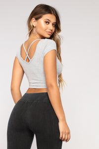 Drawn To You Crop Top - Heather Grey