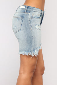 Baby I'm For Real Denim Bermudas - Light Blue Wash