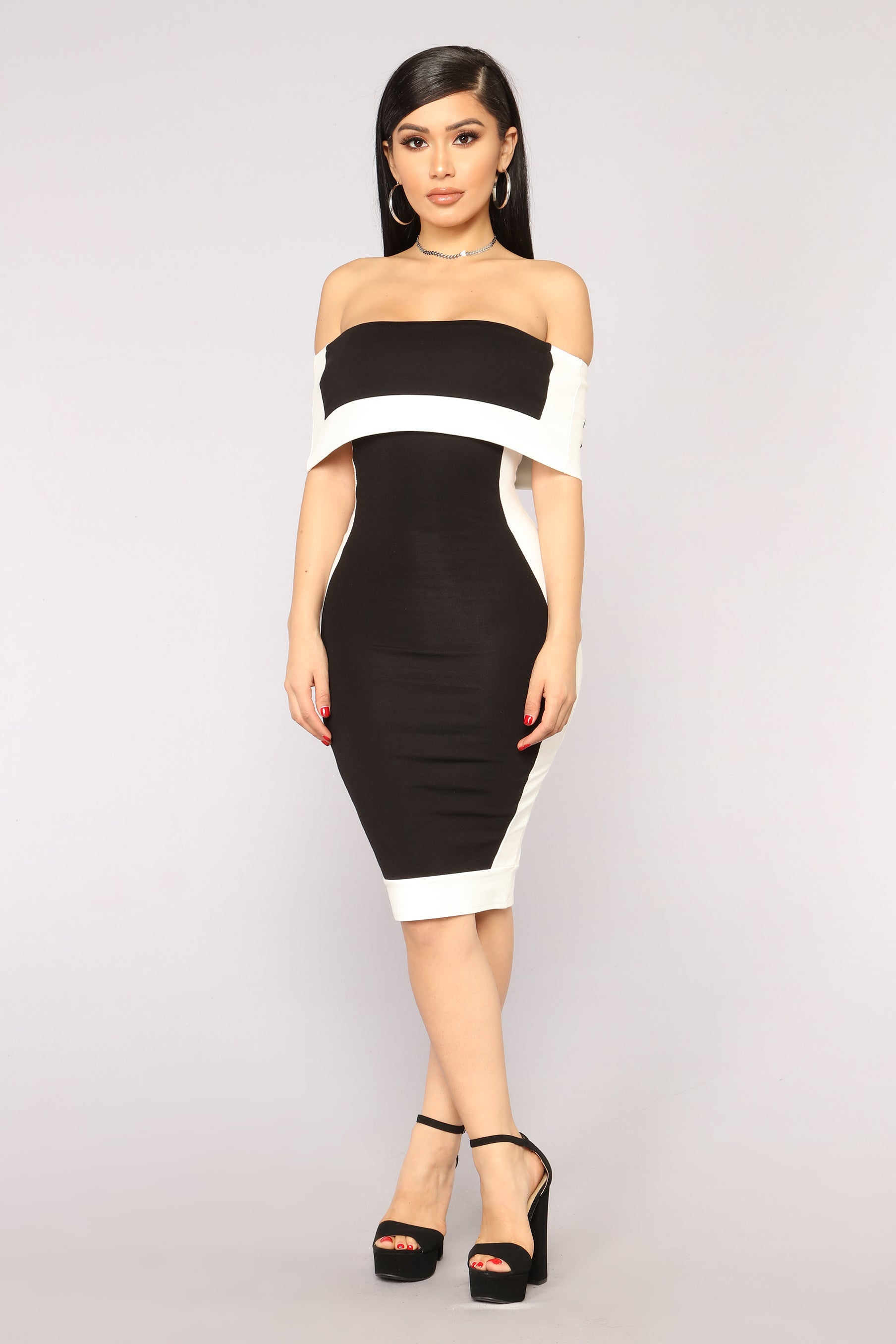 dce84439a0b Olivia Off Shoulder Dress - Black White