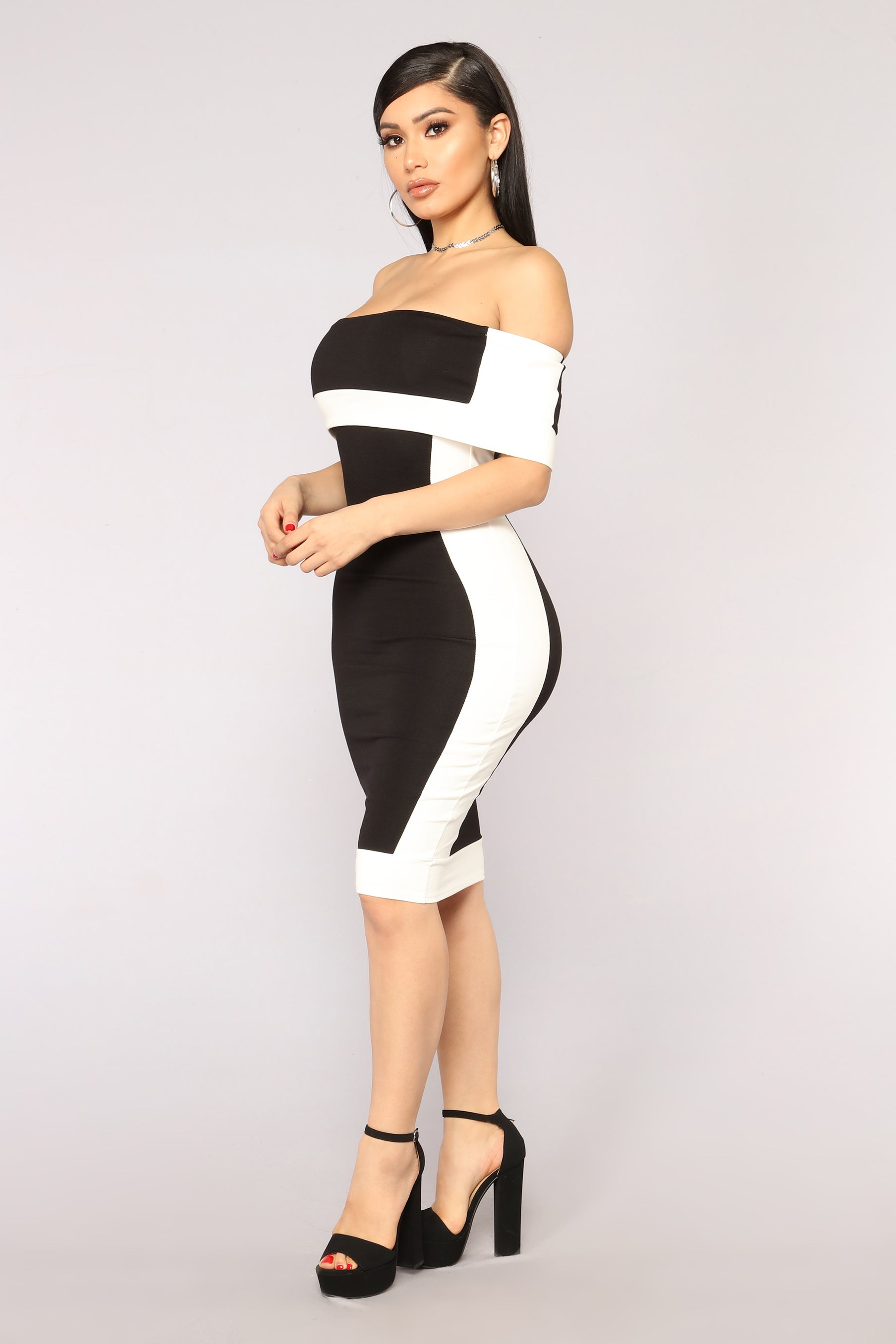 59595af86c4f Olivia Off Shoulder Dress - Black White