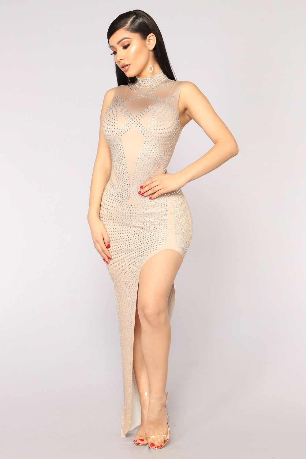 Prized Possession On Rhinestone Dress - Nude