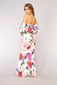 Flourished Floral Dress - White