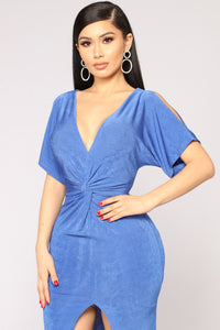 Full Disclosure Knot Dress - Royal