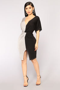 Glass Half Full Dress - Black/Grey