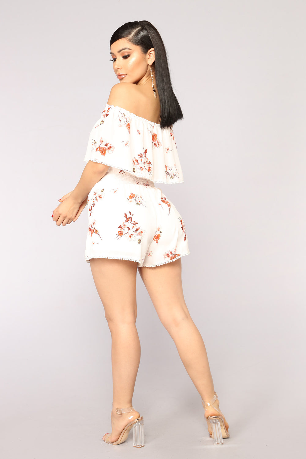 Sonoma Valley Floral Romper - Ivory