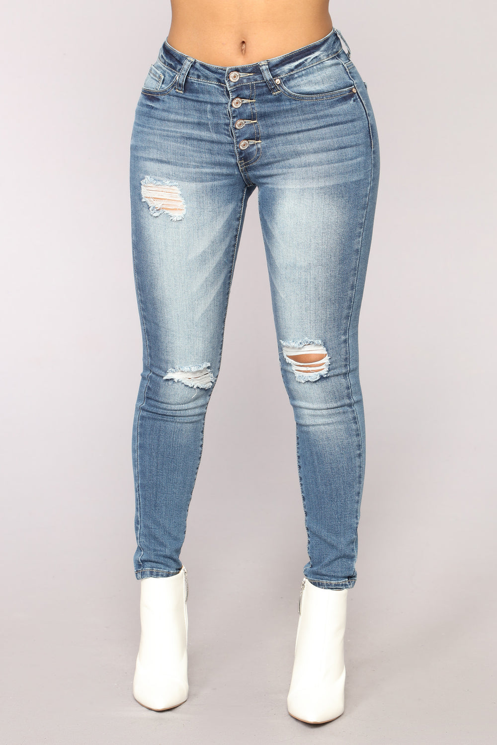 Call Me Never Ankle Jeans - Medium Blue Wash