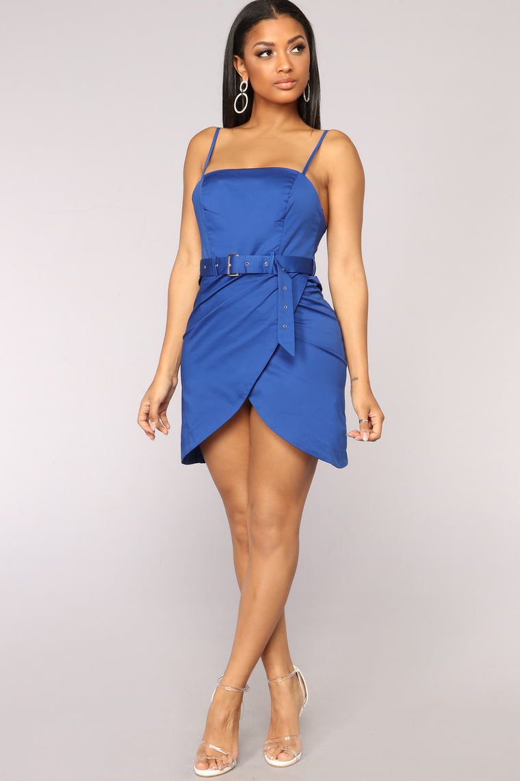 Already Won Belted Dress - Navy