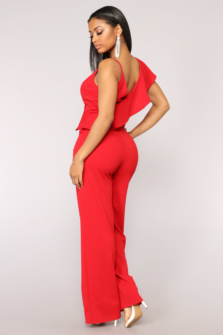 Hard To Get Ruffle Jumpsuit - Red