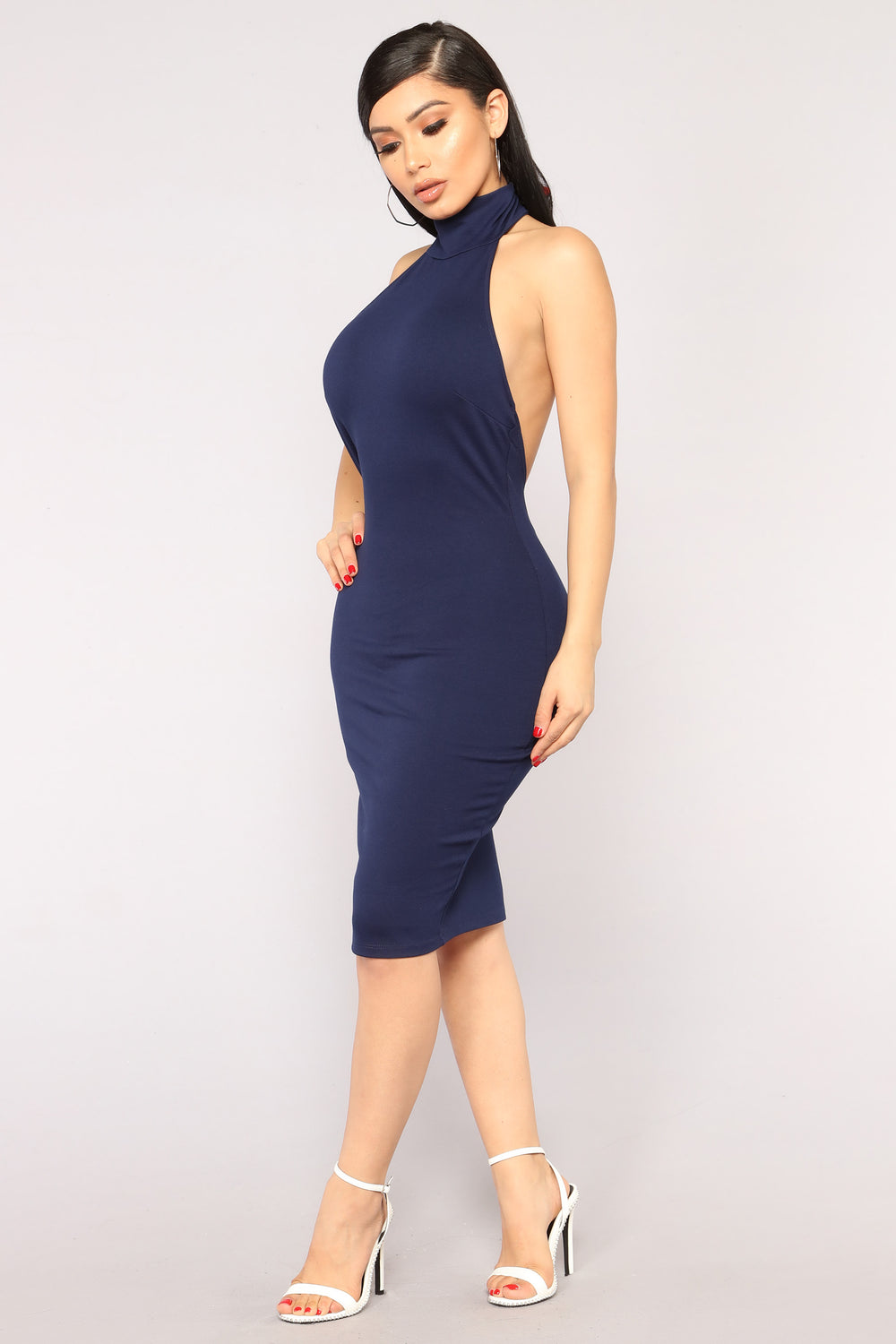 Kassie High Neck Dress - Navy