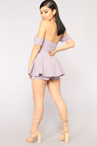 Loving You Off Shoulder Romper - Lavender