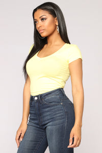Lily V Neck Top - Yellow
