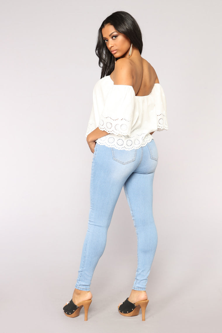 Shin High Rise Rayon Skinny Jeans - Light Blue Wash
