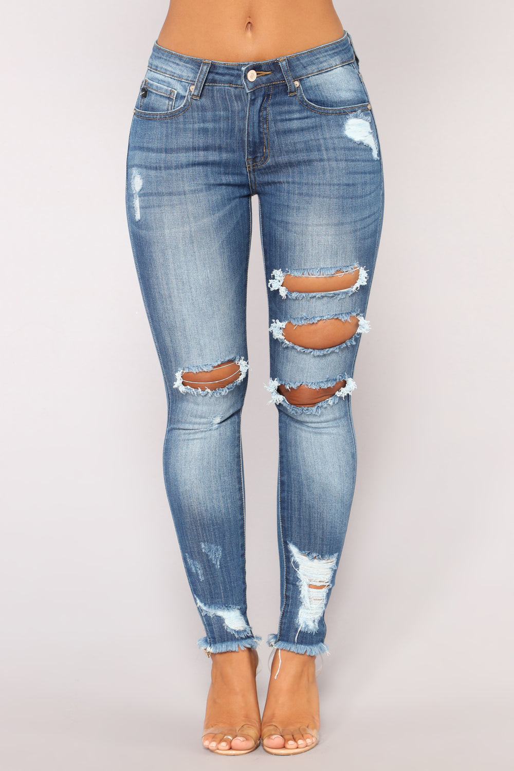 Chicago Distressed Skinny Jeans - Medium Blue Wash
