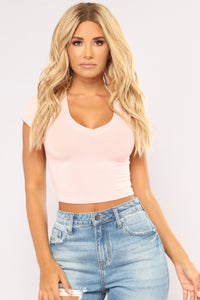Little Do You Know Crop Top - Pink Angle 1