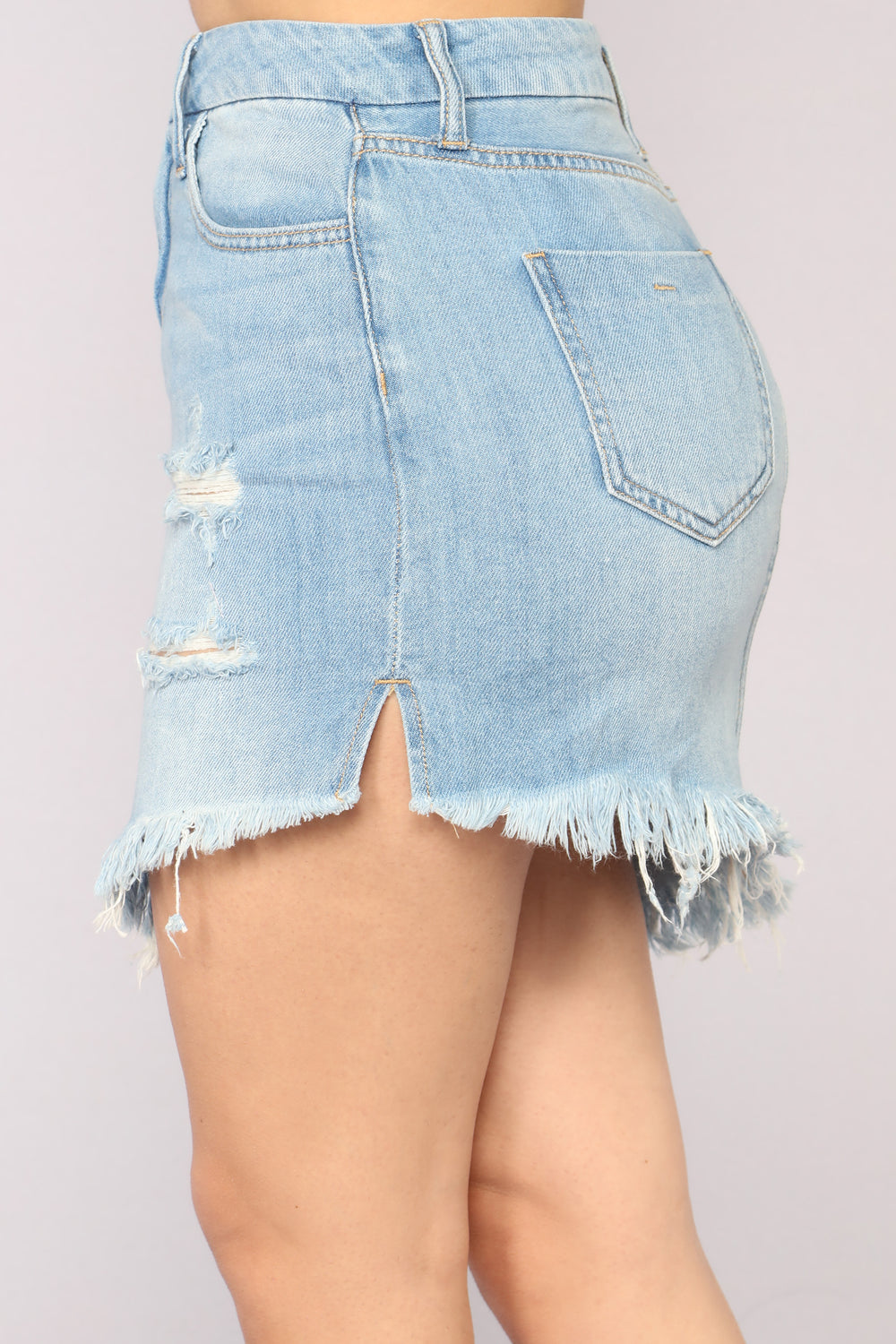 Lila Angled Denim Skirt - Light Blue
