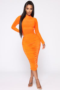 Moved To The City Ruched Midi Dress - NeonOrange Angle 1
