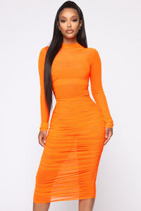 Moved To The City Ruched Midi Dress - NeonOrange