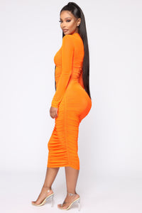 Moved To The City Ruched Midi Dress - NeonOrange Angle 3