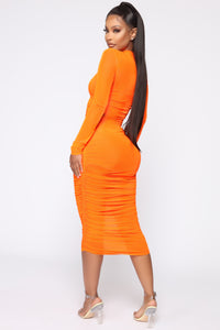 Moved To The City Ruched Midi Dress - NeonOrange Angle 4