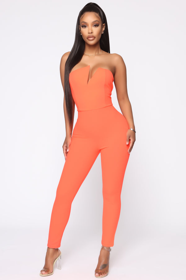 84302799ce0a Cutting You Off Jumpsuit - Neon Coral