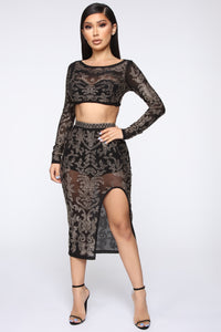Got To Shine Skirt Set - Black Angle 1