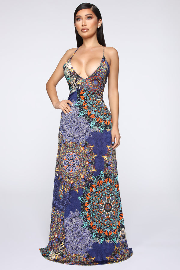 Estella Printed Maxi Dress - Navy Combo aed271299