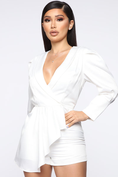 Satin Long Sleeves Pocketed Wrap Romper