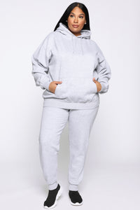 Stole Your Boyfriend's Oversized Hoodie - Heather Grey Angle 7