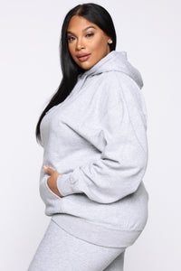 Stole Your Boyfriend's Oversized Hoodie - Heather Grey Angle 8