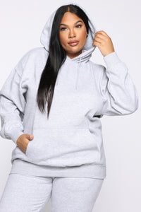 Stole Your Boyfriend's Oversized Hoodie - Heather Grey Angle 6