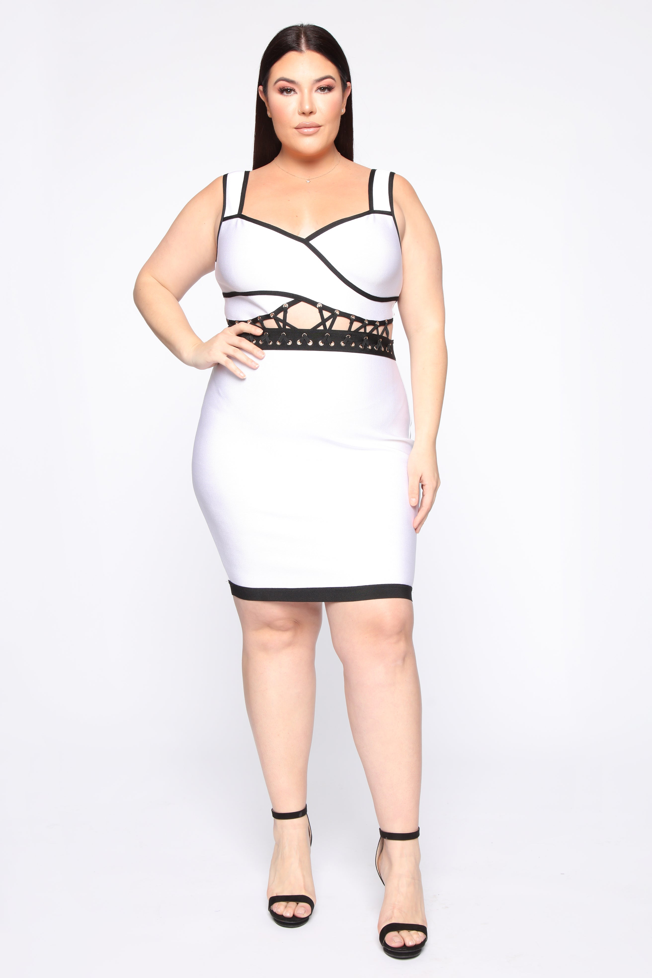 Members Only Bandage Mini Dress - White/black
